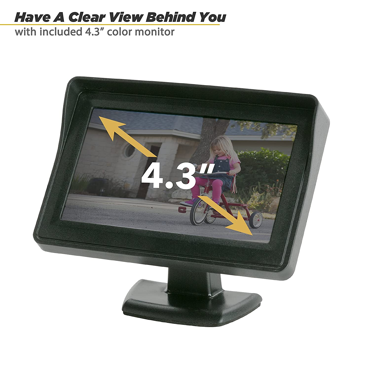 "Scosche D4TFCAMK Black Back System with 4.3/"" TFT Color LCD Dash Monitor and License Plate Frame Camera"