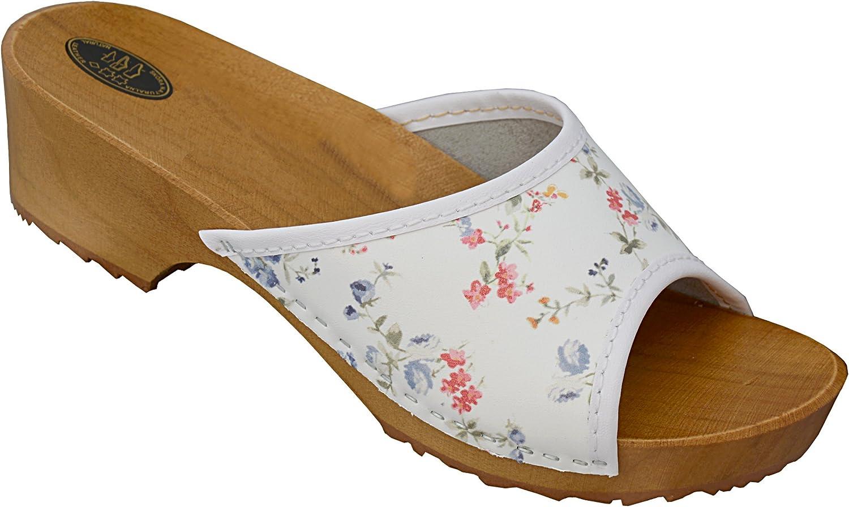 Damen Holz Clogs Leder Sommer Sandalen Pantoletten Holzschuhe Rot
