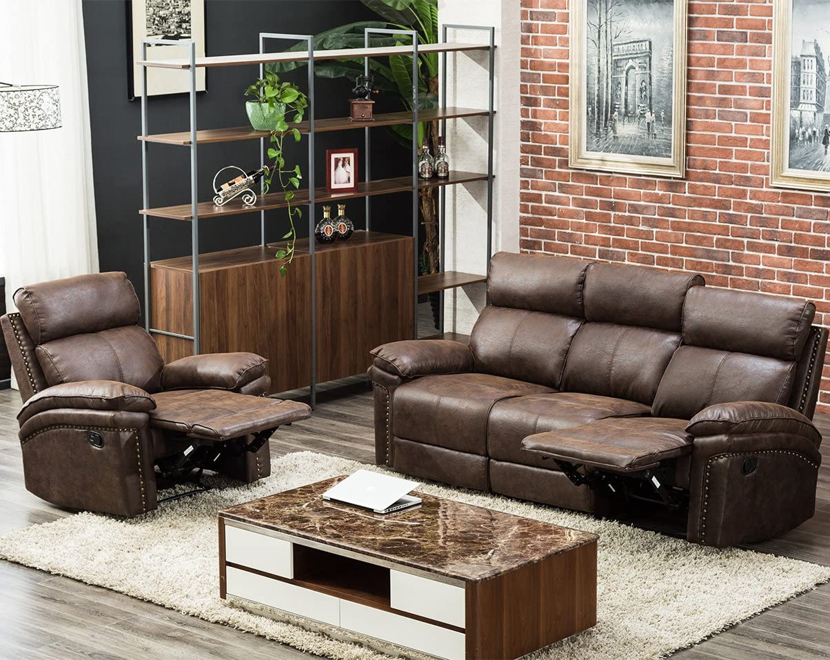 Harper Bright Designs Sectional Recliner Sofa Set Brown Chair 3-Seat Recliner