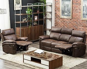 Amazon.com: Sectional Recliner Sofa Set 3-Seat Recliner ...