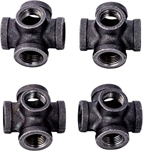 1/2 Inch 5 Way Industrial Cast Iron Pipe Fitting 4 Pack by Pipe Decor, Pipe Components For Building Tables, Chairs, Shelving, and Custom Furniture, Fits Standard Half Inch Pipes and Nipples, Four Pack