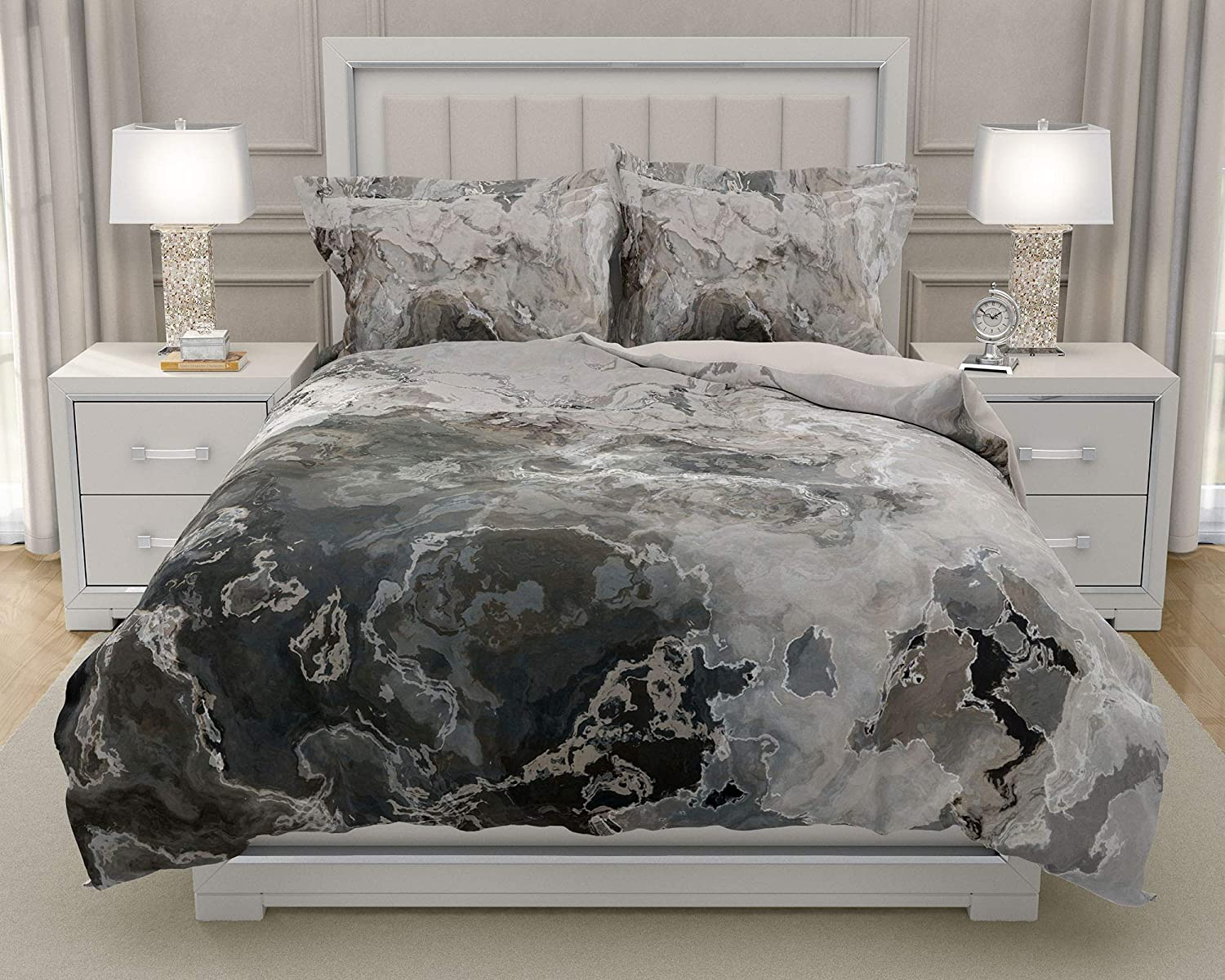 Image of Home and Kitchen King or Queen 3 pc Duvet Cover Set with abstract art, Geologic