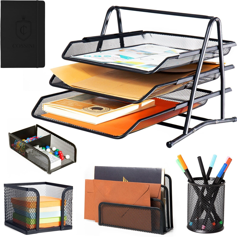 Cossini 5 Piece Metallic Mesh Office Desk Set Organizer (+Bonus: Mini Screwdriver & A6 Notebook)