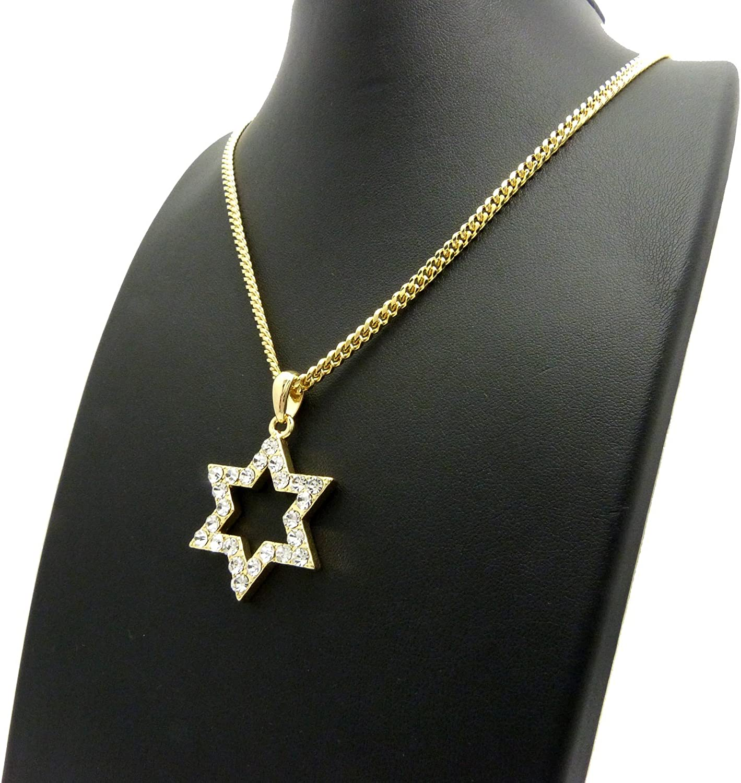 NYFASHION101 Stone Stud Hollow Star Micro Pendant w// 3mm 24 Cuban Chain Necklace