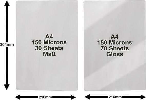 100/Pochettes de plastification 30PC A4/brillant 150/Mic. A4/Mat 70pi/èce