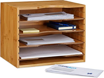 Relaxdays Corbeille A Courrier En Bambou Organiseur De Bureau Porte Document Papier Range Documents Avec Tablettes Amovibles Differentes Hauteurs En Bois Nature 26 5 X 33 5 X 24 5 Cm Amazon Fr Cuisine Maison