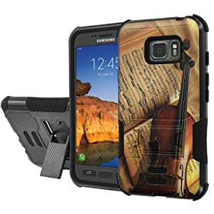 [AT&T] Galaxy [Active S7] Armor Case [NakedShield] [Black/Black] Urban Shockproof Defender [Kick Stand] - [Violin and Note] for Samsung Galaxy [S7 Active]