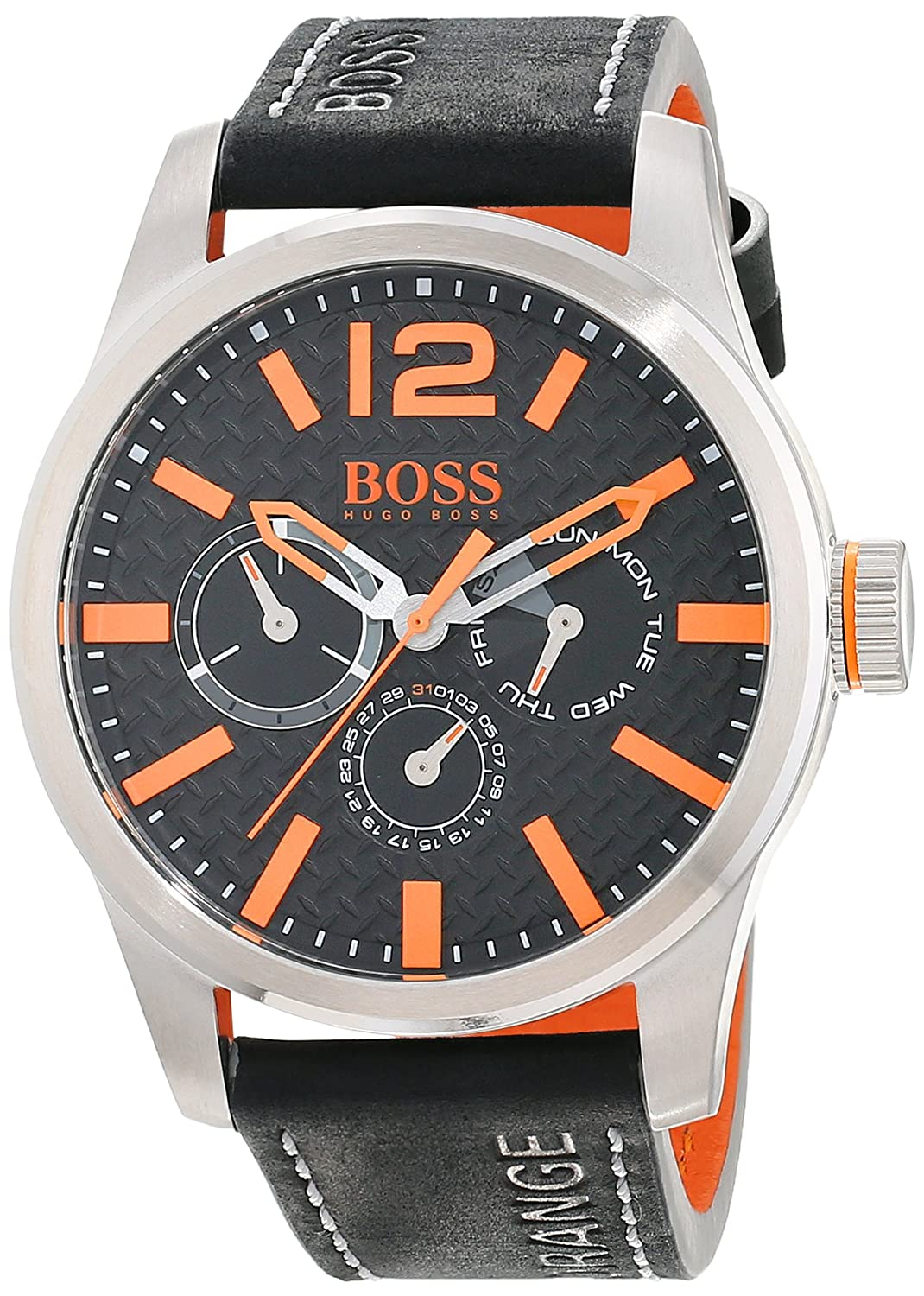 BOSS Orange Herren-Armbanduhr PARIS Multieye Analog Quarz Leder 1513228