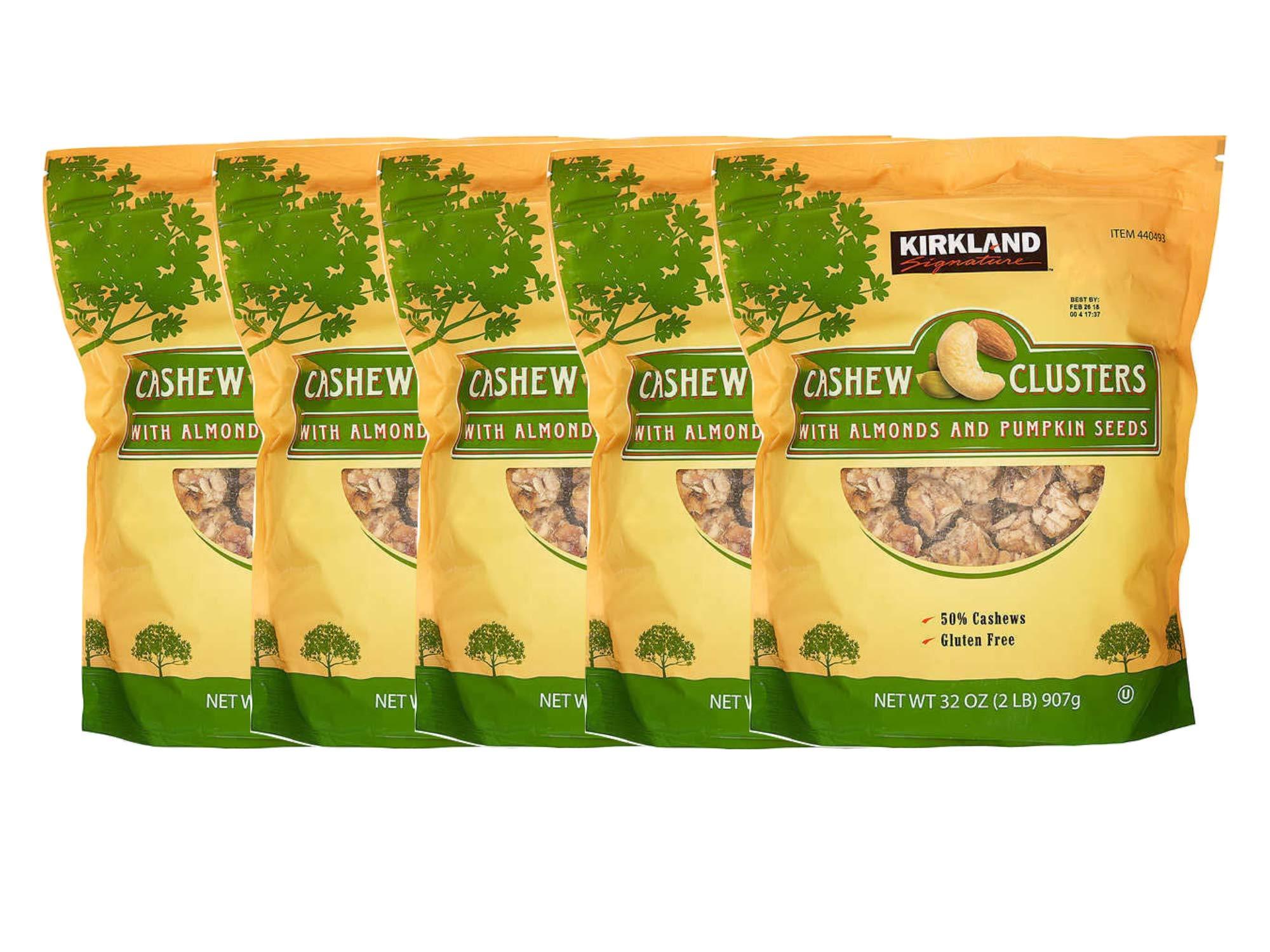 Kirkland Signature Cashew Clusters 32 oz per each (Pack of 5)