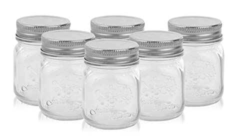 acda5e31499c Golden Spoon Mason Jars, With Regular Lids, and Lids for Drinking, (Set of  6) (4 oz)