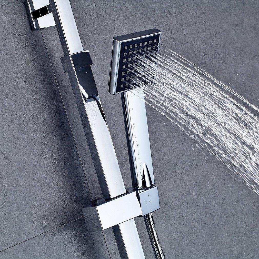 Auralum/® Colonne de Douche carr/é System de Douche avec Mitigeur Thermostatique Rainshower R/éduction pour Prime Day