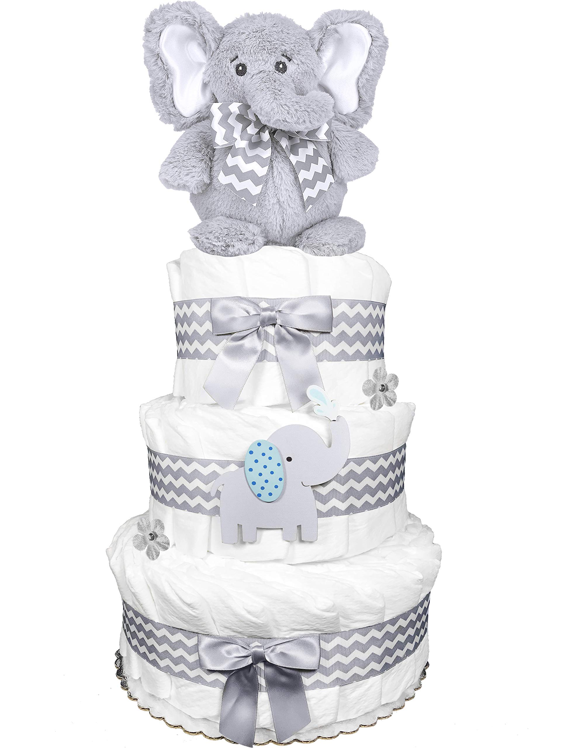Elephant 3-Tier Diaper Cake - Baby Shower Centerpiece Gift Set - Chevron Gray