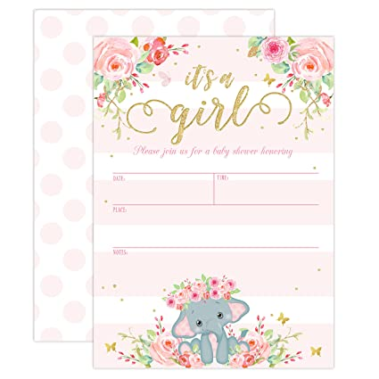 Amazon Com Elephant Baby Shower Invitation Girl Pink Elephant