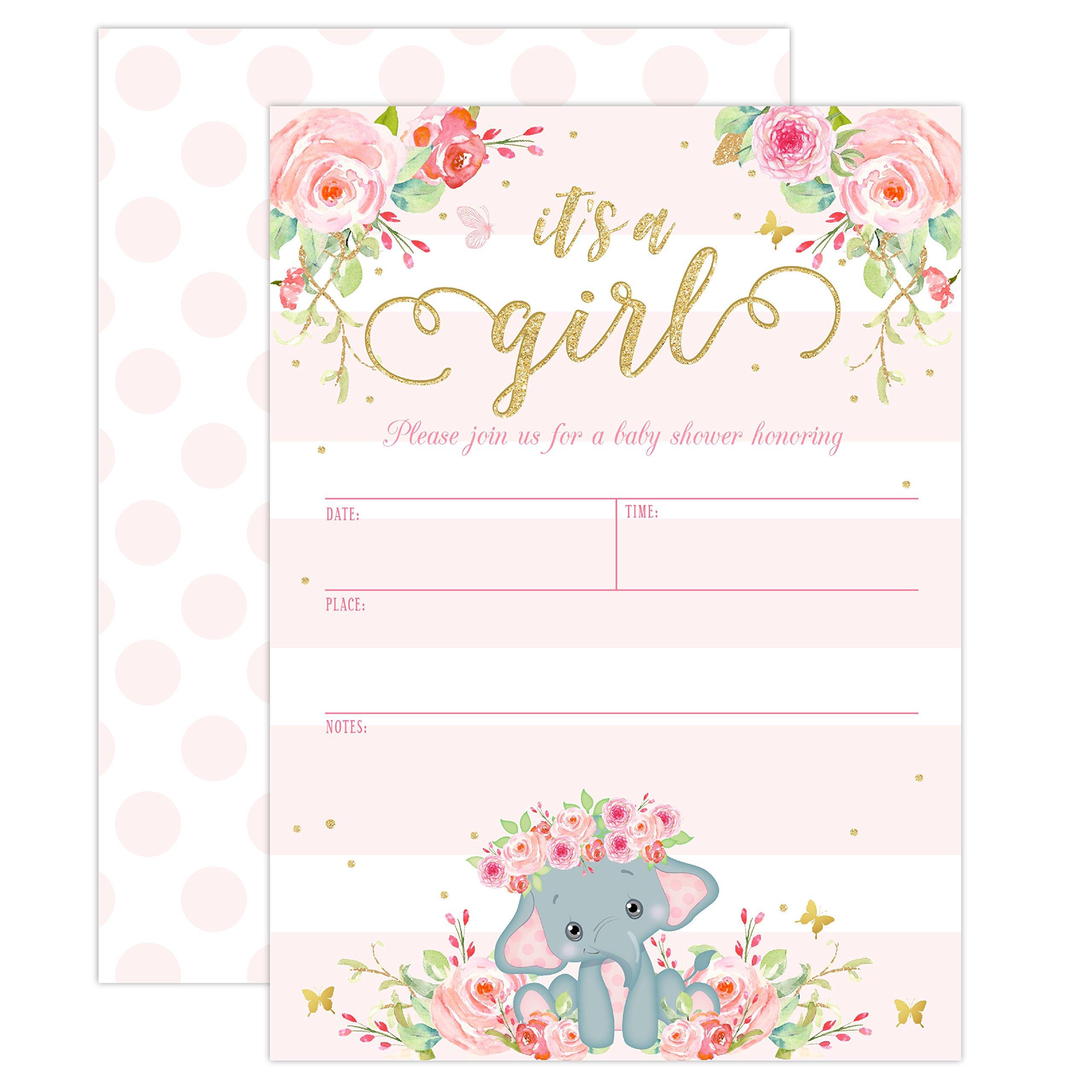 Amazon Elephant Baby Shower Invitation Girl Pink Elephant