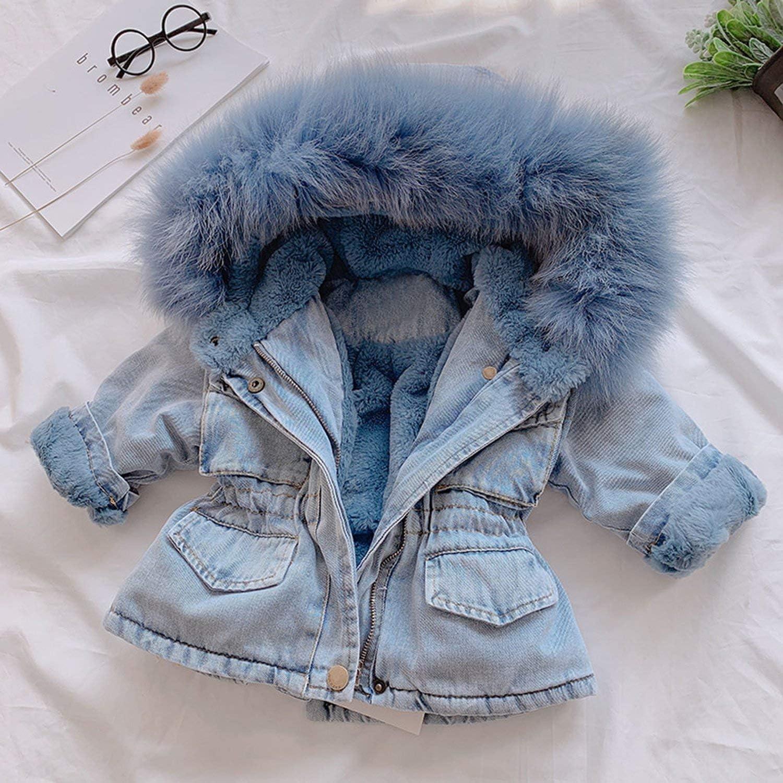 Children Hooded Denim Coats,Toddler Kids Baby Girls Long Sleeve Faux Fur Fleece Warm Thick Denim Coat Outwear Winter Jackets