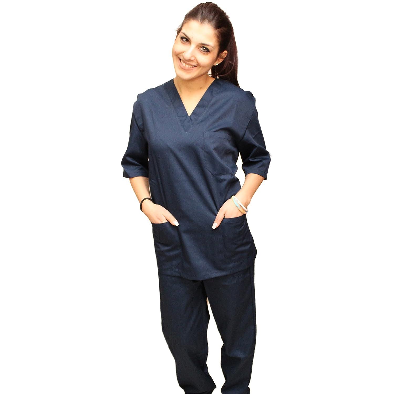 Divisa Completa da Lavoro Medico Infermiera Blu Scuro Sanitario Estetista Unisex Cotone