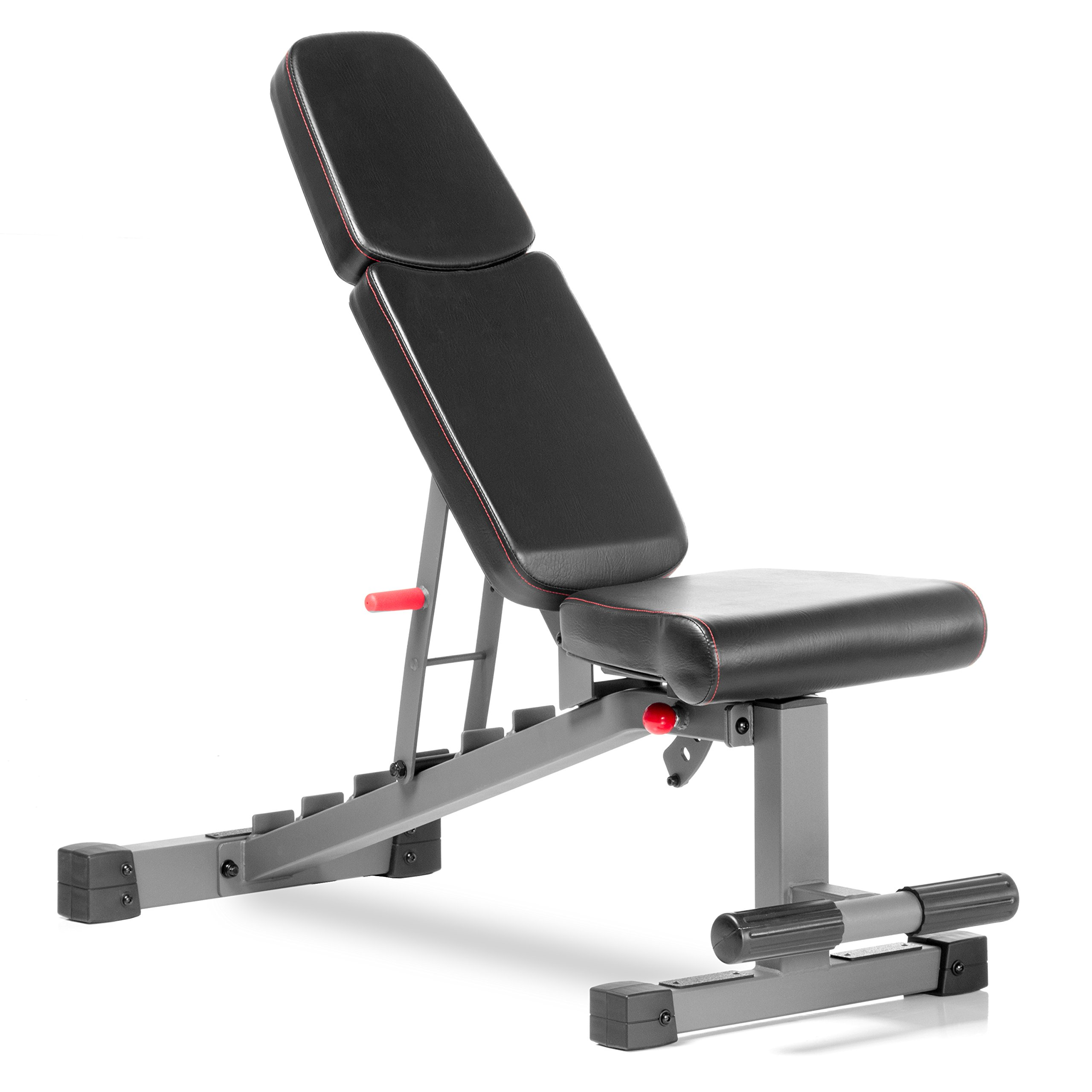 XMark Commercial Flat Incline Decline Weight Bench, 1500 lb Capacity, 7 Back Pad Adjustments From Decline To Military Press, Ergonomic 3 Position Adjustable Seat, and Built In Transport Wheels XM-9022