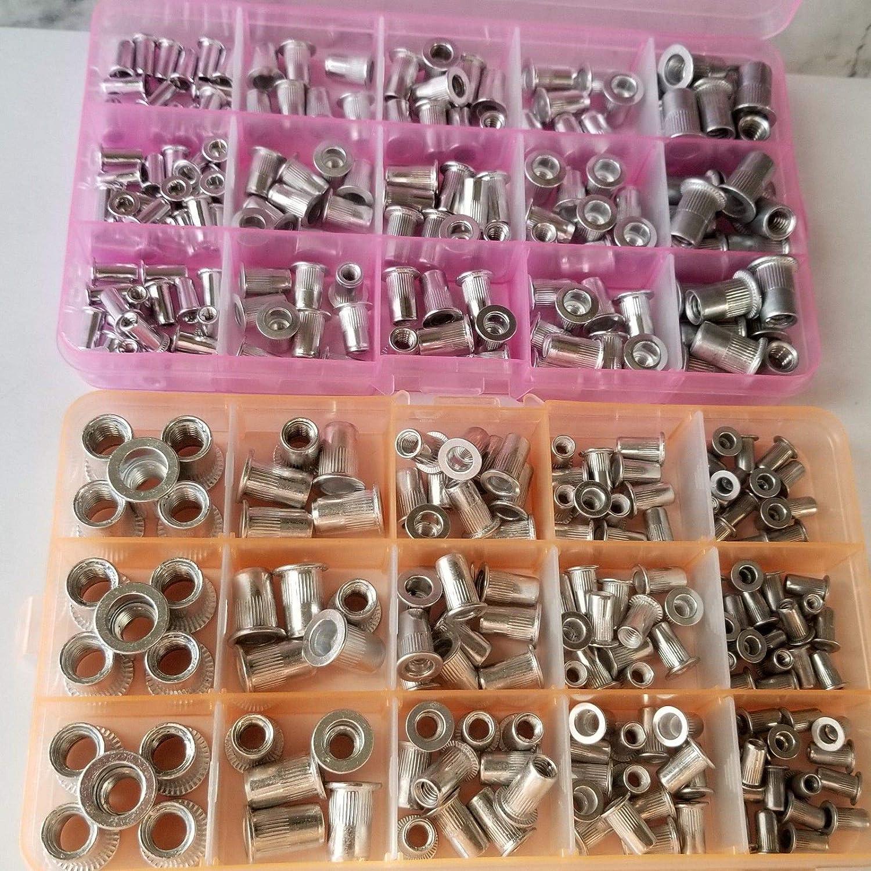 150pcs Metric+150pcs SAE 300 pcs Aluminum Rivet Nut Kit Rivnut Nutsert Assort