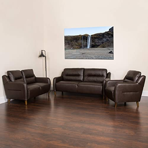 Flash Furniture Newton Hill Upholstered Bustle Back Chair, Loveseat and Sofa Set in Brown LeatherSoft
