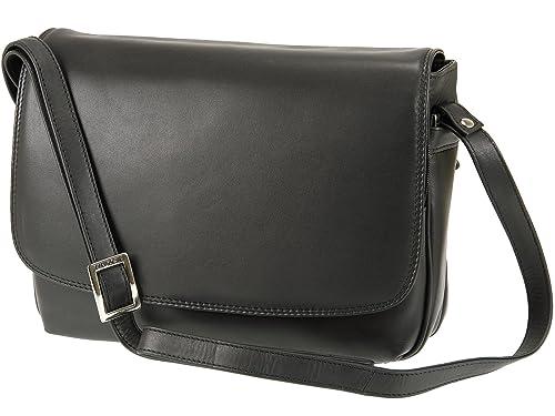 18e7eff09a6185 Visconti Ladies Soft Leather Handbag Organiser Cross Body Shoulder Bag -  03190 (Black)