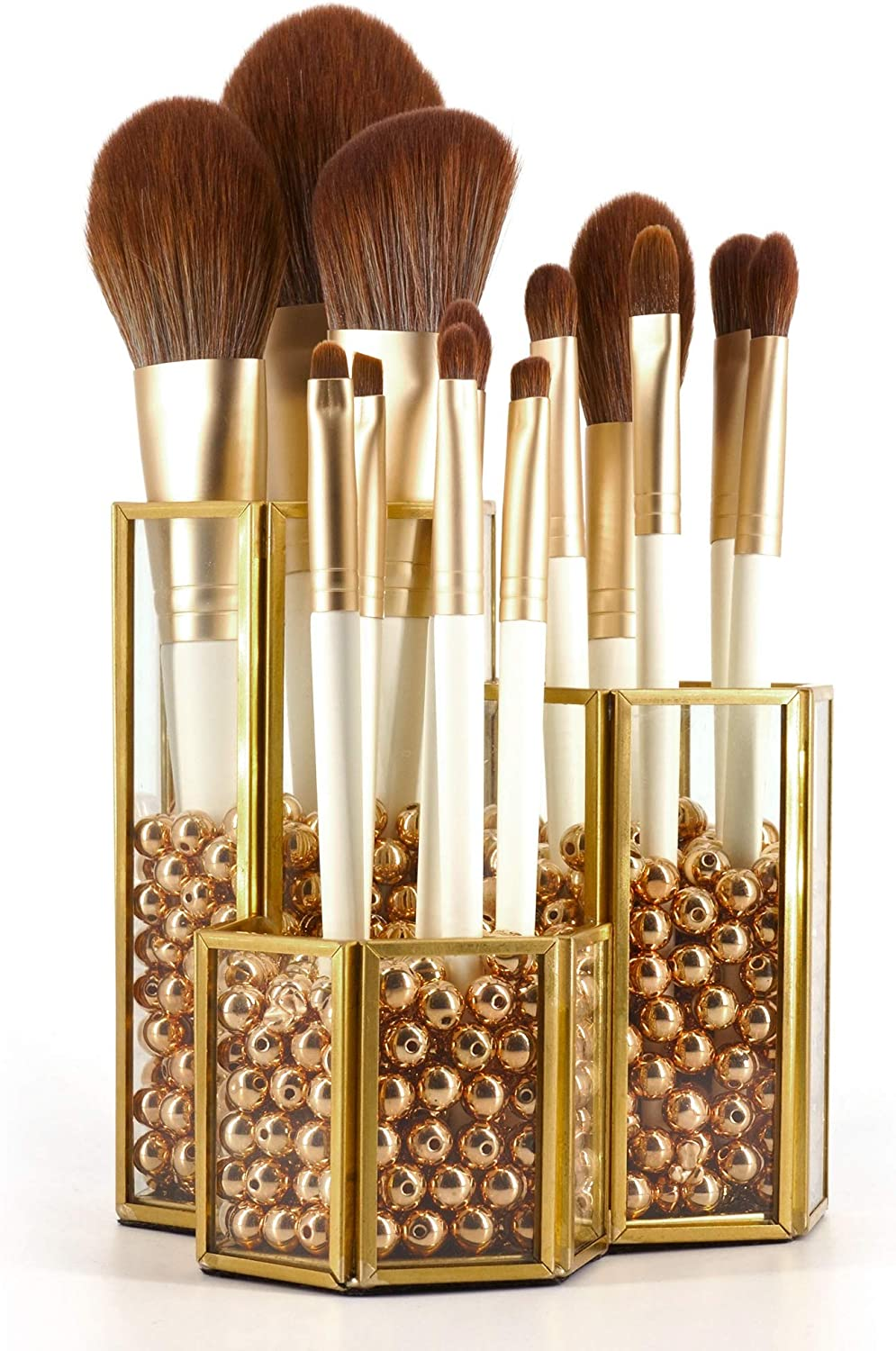 Crowned Gold Glass Makeup Brush Holder Handmade, 3 Slot Copper Desk Organizer Desktop Clear Cosmetics Organizer Lipstick Storage, with Free Pearls - 001