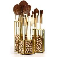 Crowned Gold Glass Makeup Brush Holder Handmade, 3 Slot Copper Desk Organizer Desktop Clear Cosmetics Organizer Lipstick…