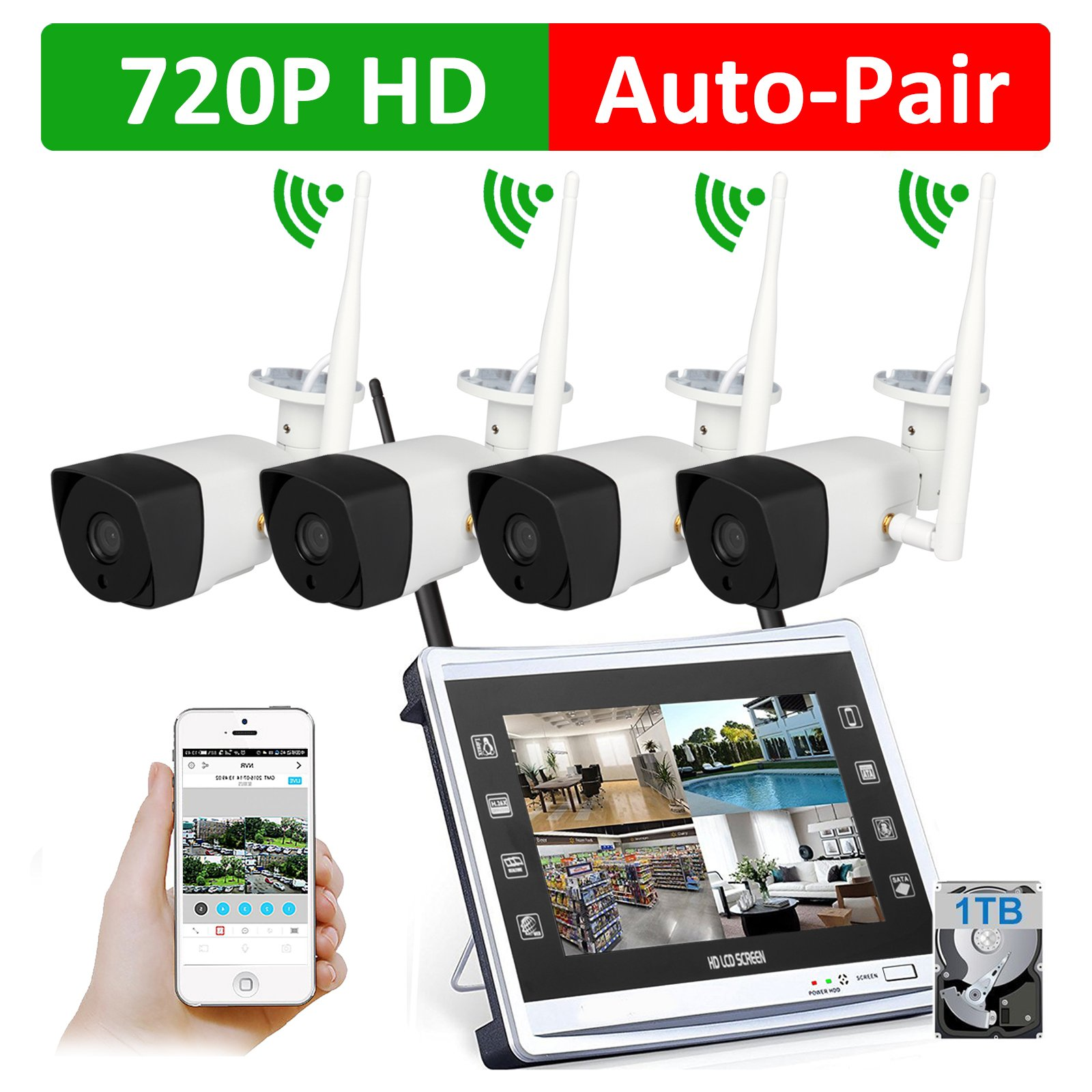 4 Cameras 720P HD LCD Wireless Home Security Surveillance Video System 1.3MP 10'' Monitor NVR, Motion Detection, Outdoor Waterproof WiFi Bridging Night Vision IP Camera, 1TB HDD (Router Built-in)
