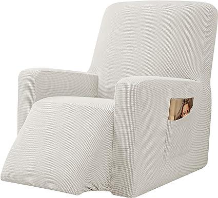 E EBETA Samt-Optisch Stretchhusse f/ür Relaxsessel Sesselbezug Elastisch Bezug f/ür Fernsehsessel Liege Sessel Wei/ß Komplett Sesselschoner
