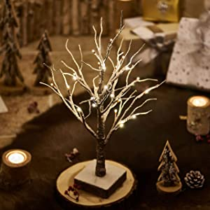 Hairui Lighted Tabletop Artificial Small Tree Snow Dusted 24 LED 18IN Battery Operated with Timer Indoor Use for Winter Christmas Tree Decoration