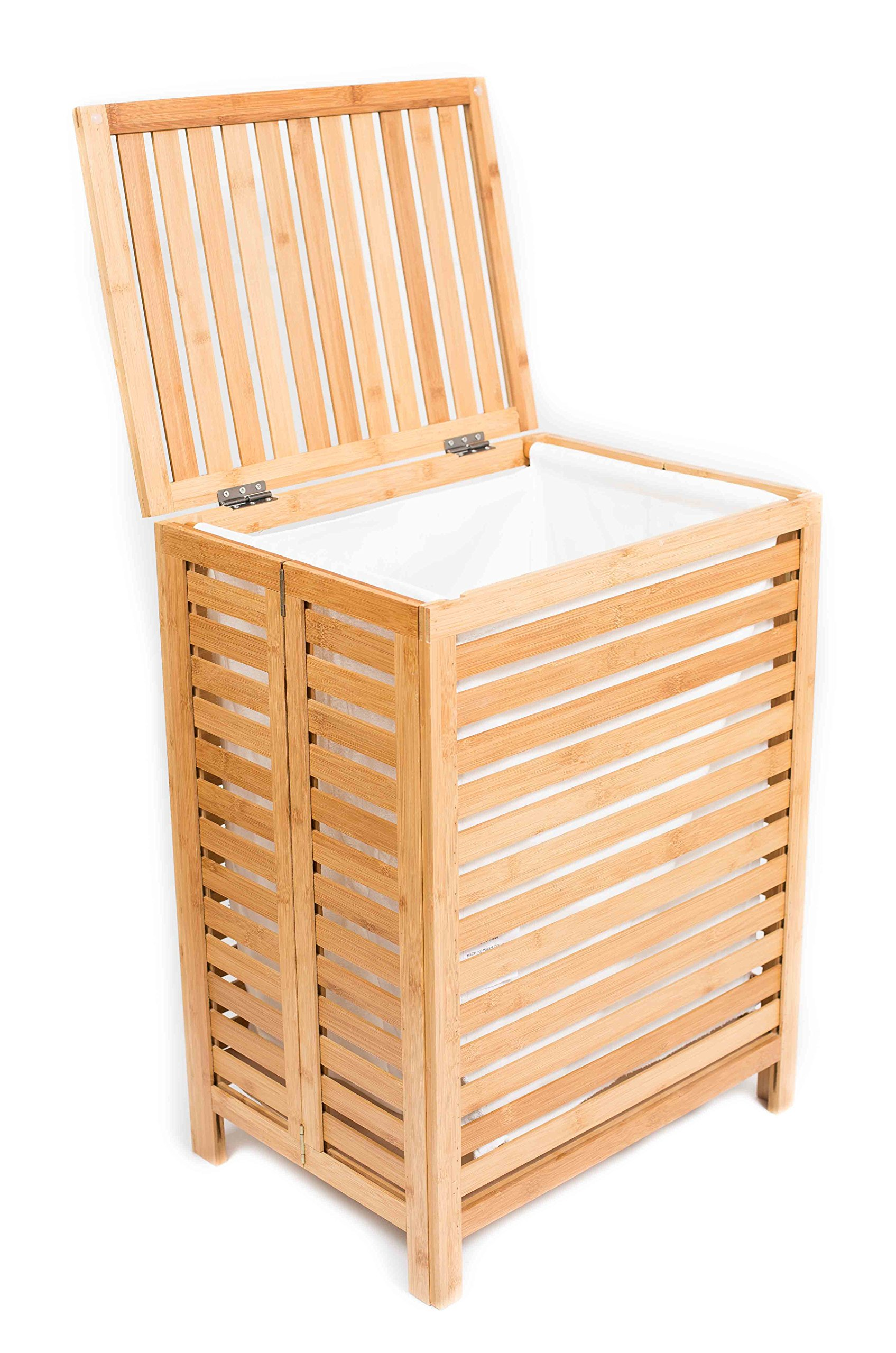 BirdRock Home Folding Bamboo Hamper | Made Natural Bamboo | Includes Machine Washable Cotton Canvas Liner