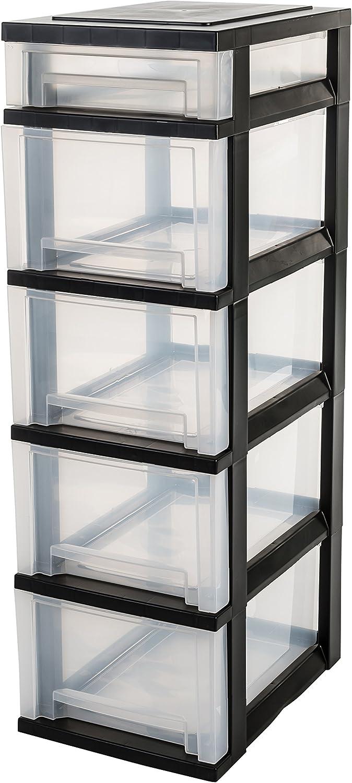 Iris Ohyama, torre de almacenamiento con 5 cajones sobre ruedas - Smart Drawer Chest - SDC-314, plástico, negro / transparente, 71 L, 29 x 39 x 94,5 cm