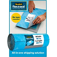 Scotch Flex & Seal Shipping Roll, 20 Ft x 15 in, Simple Packaging Alternative to Cardboard Boxes, Bubble Mailers, Poly Bags, Cushioning