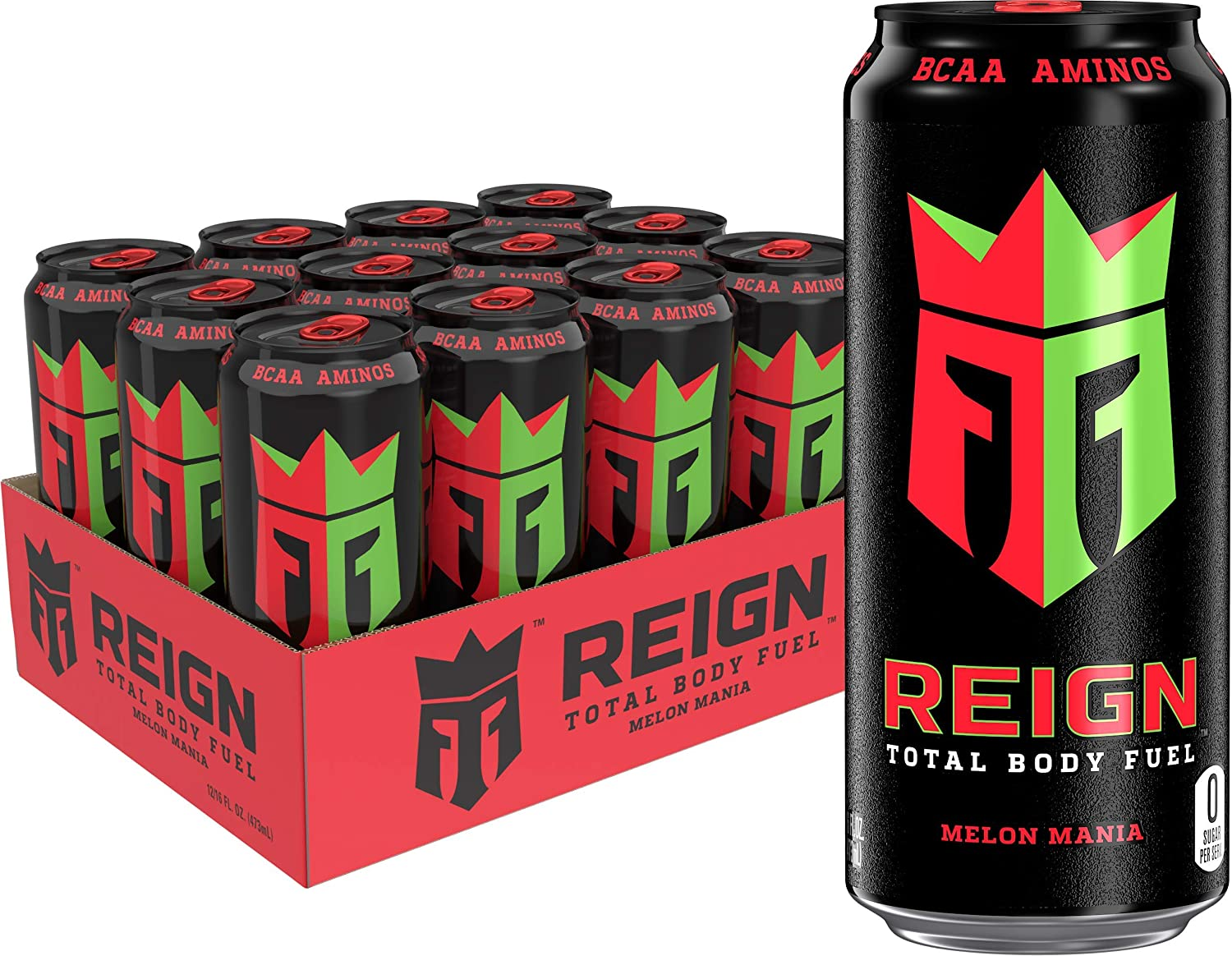 Reign Total Body Fuel, Melon Mania, Fitness & Performance Drink, 16 Ounce (Pack Of 12)