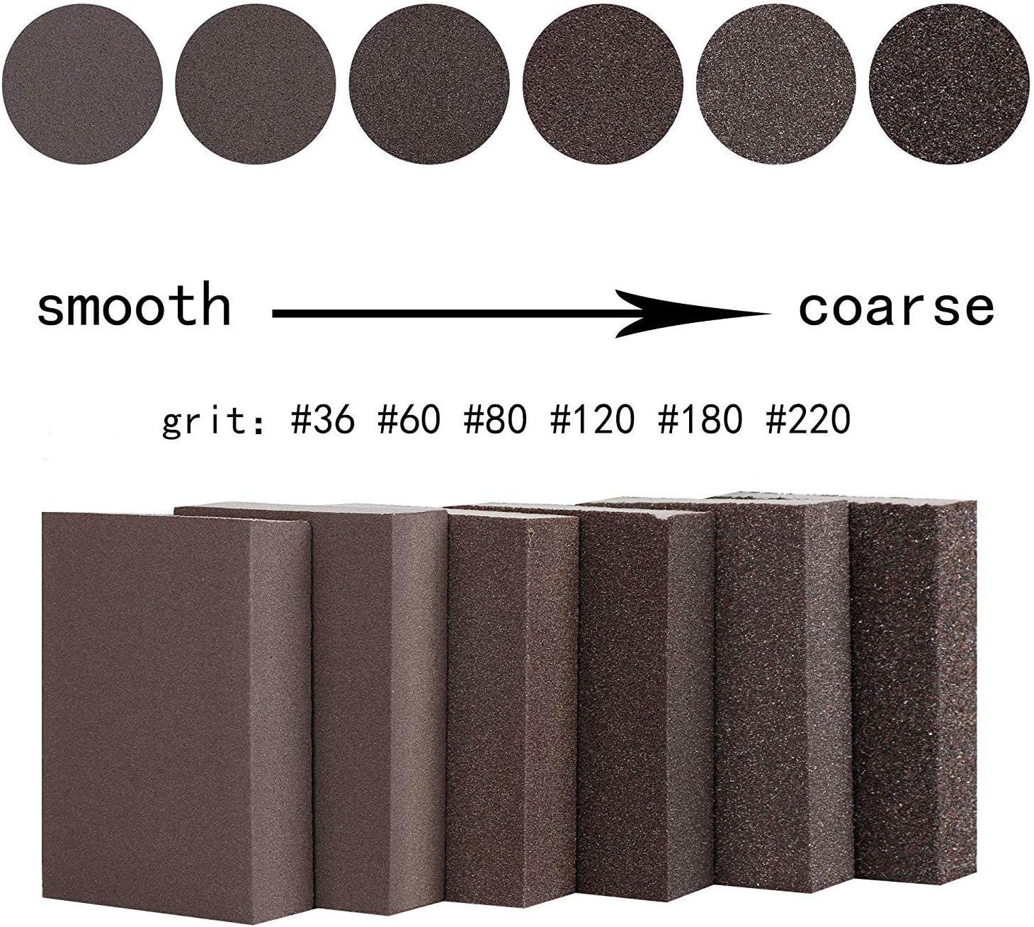 Liyafy 6pcs 80# Grit Sponge Emery Cloth Sandpaper Blocks Buffing Diamond Polishing Pads Hand Sanding Tool