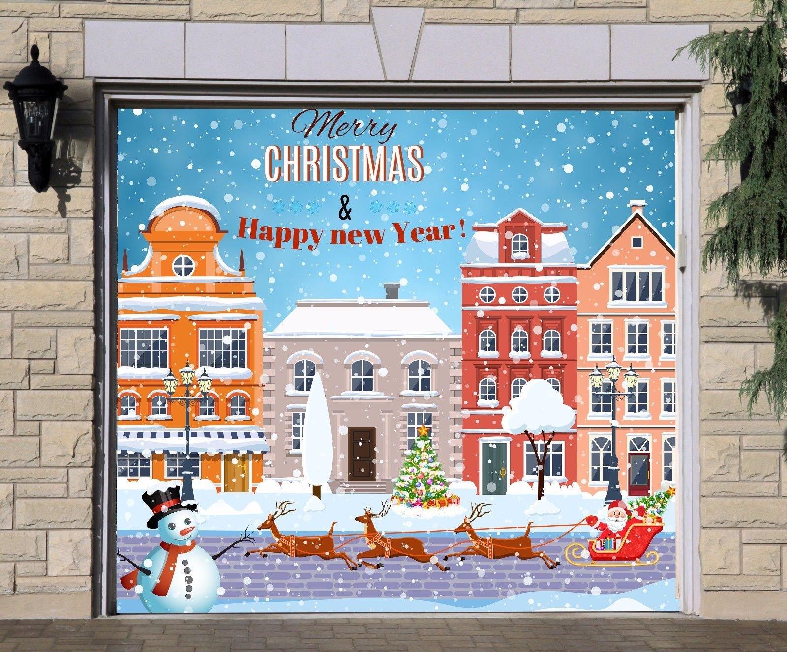 Christmas Сity Single Garage Door Covers Billboard Full Color 3D Effect Print Door Decor Decorations of House Garage Holiday Mural Banner Garage Door Banner Size 83 x 96 inches DAV209 by WallTattooHome