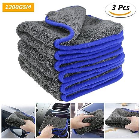 fixget am0032 1200 GSM 3pcs microfibra secado toalla Limpieza detalle lierung Cocina paños de limpieza Cera ...