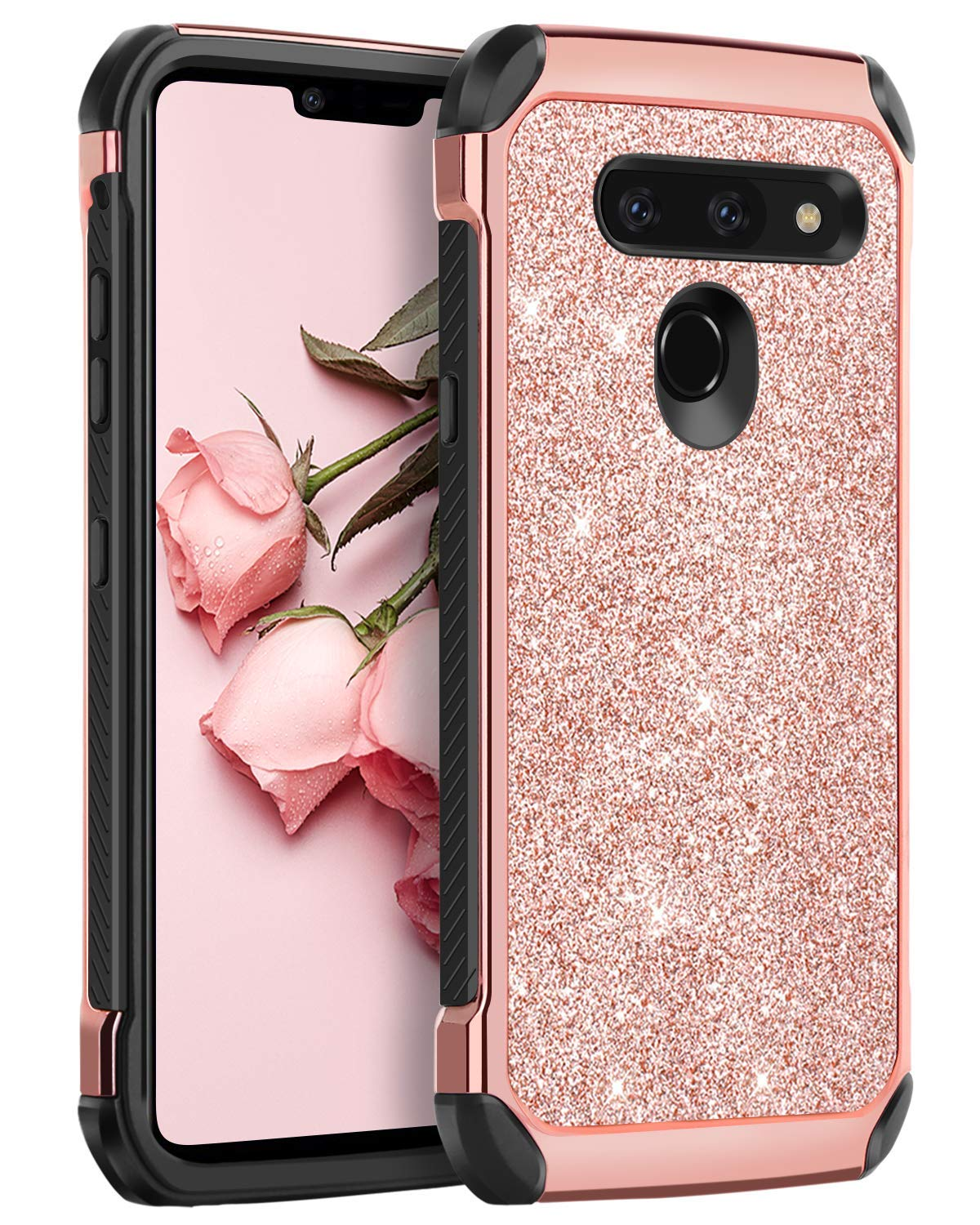 BENTOBEN Case for LG G8 ThinQ/LG G8,Shockproof Glitter Sparkly Bling Girl Women 2 in 1 Shiny Faux Leather Hard PC Soft TPU Bumper Protective Phone Cover for LG G8 Thin Q/LG G8 2019 Release, Rose Gold