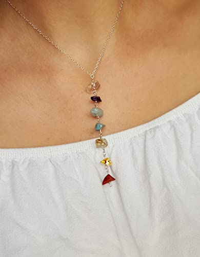 14k gold dainty necklace Chakra stones necklace Gemstone necklace Chakra crystals necklace 7 chakra necklace Mom birthday gift for her