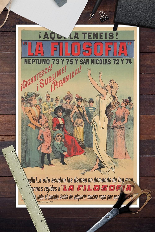 Amazon.com: La Filosofia Vintage Poster (Artist: Choubrac) Cuba c. 1897 (10x15 Wood Wall Sign, Wall Decor Ready to Hang): Posters & Prints