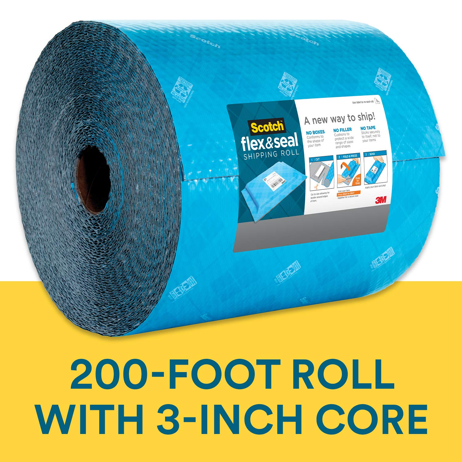 Scotch Flex and Seal Shipping Roll, 200 ft x 15 in, Simple Packaging Alternative to Cardboard Boxes, Bubble Mailers, Poly Bags, Cushioning