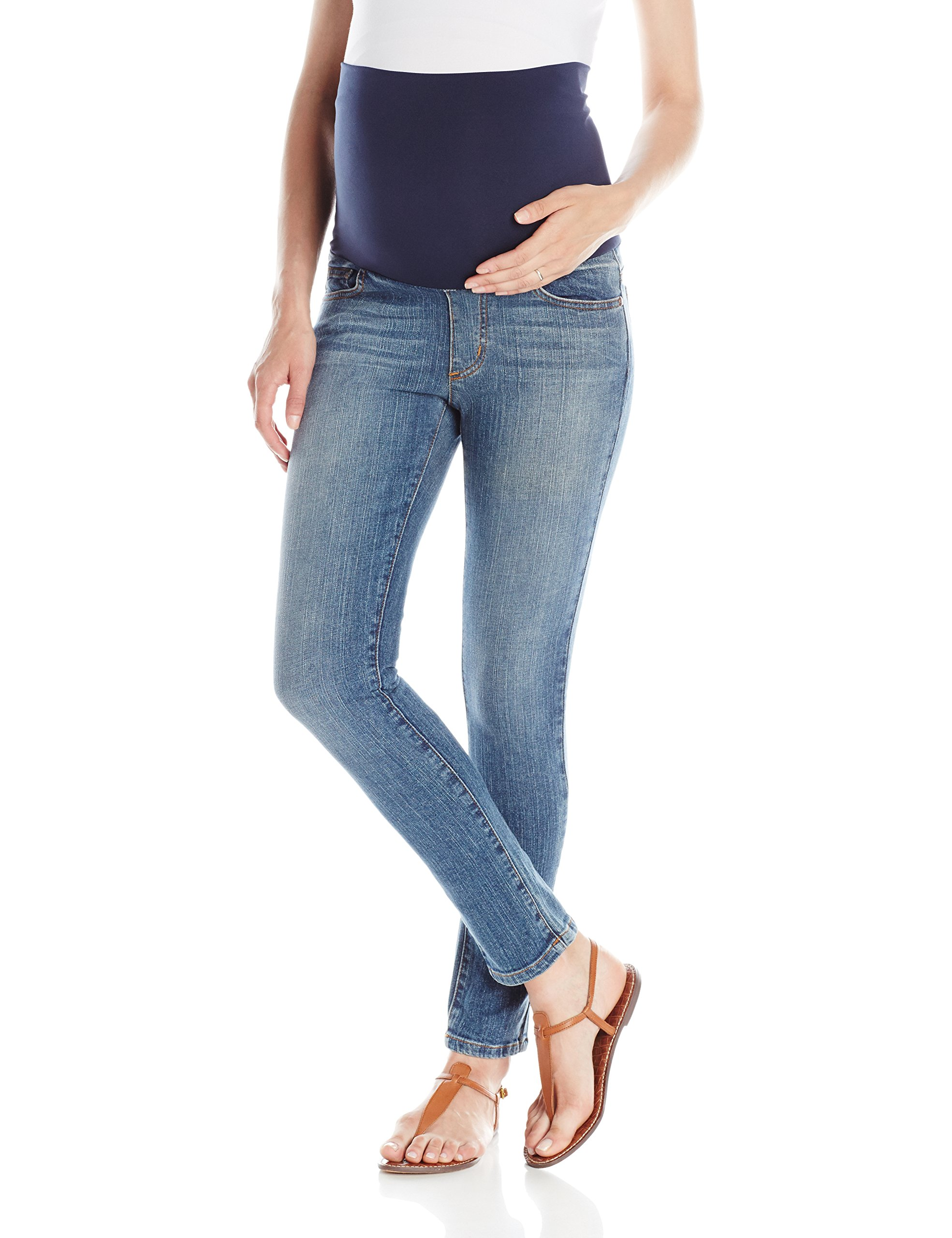 Maternal America Women's Maternity Belly Support Skinny Ankle Maternity Jeans, Classic Wash, M