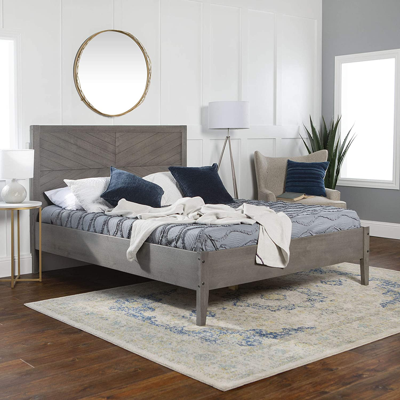 Strange Amazon Com We Furniture Queen Bed Grey Kitchen Dining Unemploymentrelief Wooden Chair Designs For Living Room Unemploymentrelieforg