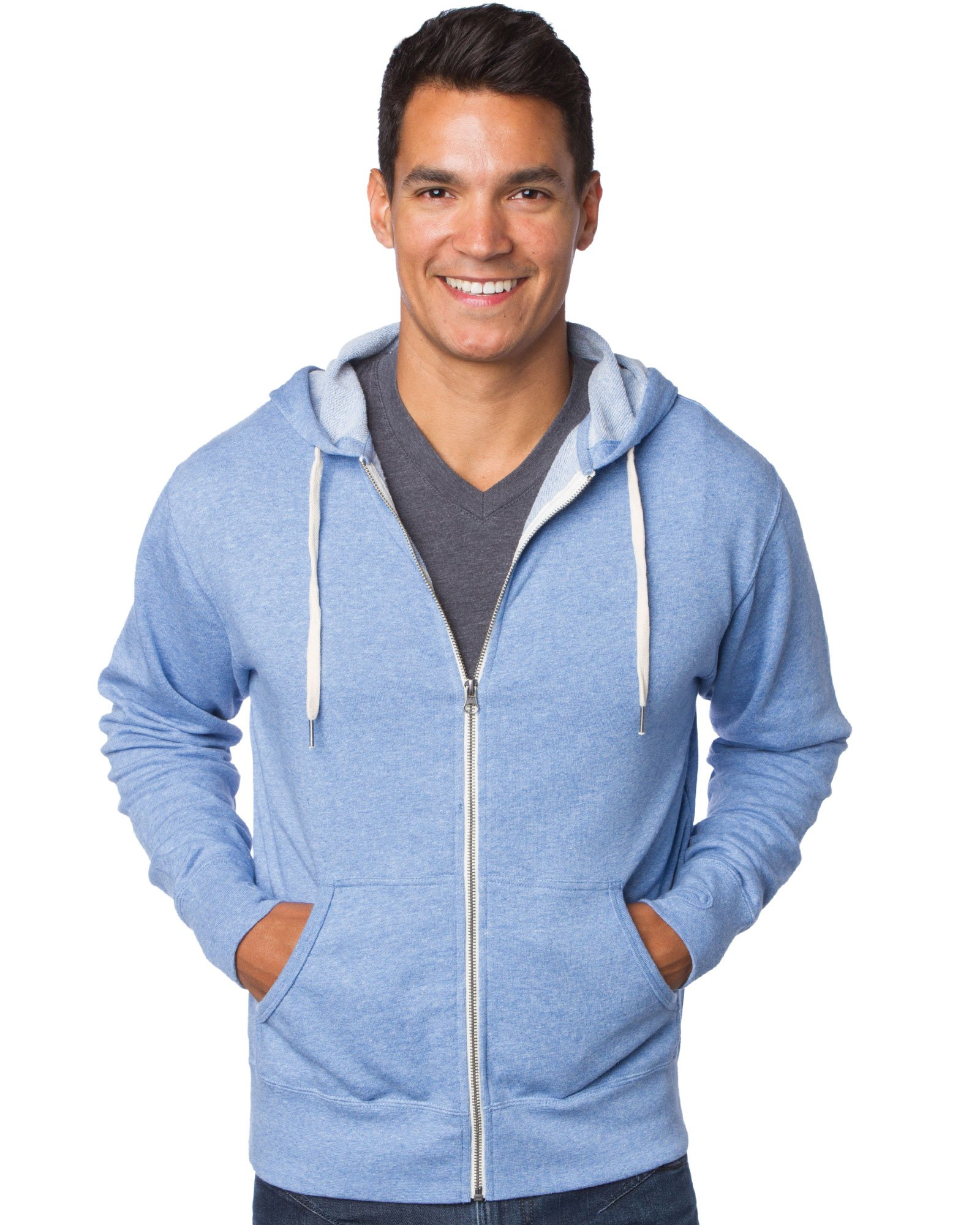 Global Blank Slim Fit French Terry Lightweight Zip Up Hoodie for Women and Men XS Light Blue