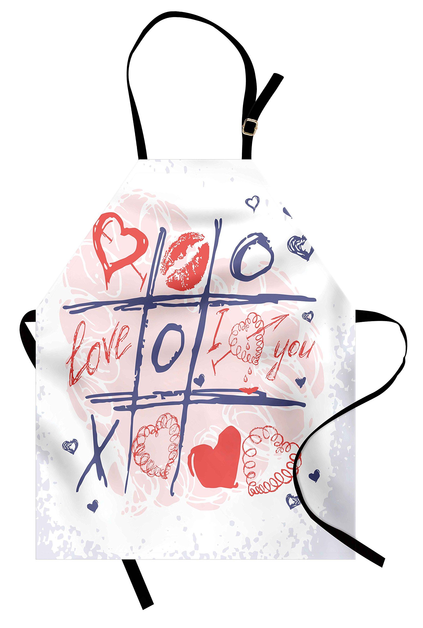 Ambesonne Valentines Day Apron, Xoxo Game with Lips Sketchy Circles Hearts Romantic Love Theme, Unisex Kitchen Bib Apron with Adjustable Neck for Cooking Baking Gardening, Blue Red and White