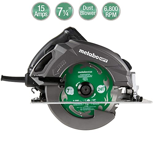 Metabo HPT 7 1 4 Circular Saw Ripmax Kit, 6,800 Rpm, 15-Amp Motor, Dust Blower Function, 24T Premium Framing VPR Blade, Unique Cord Hook, Carrying Bag, 5-Year Warranty C7UR
