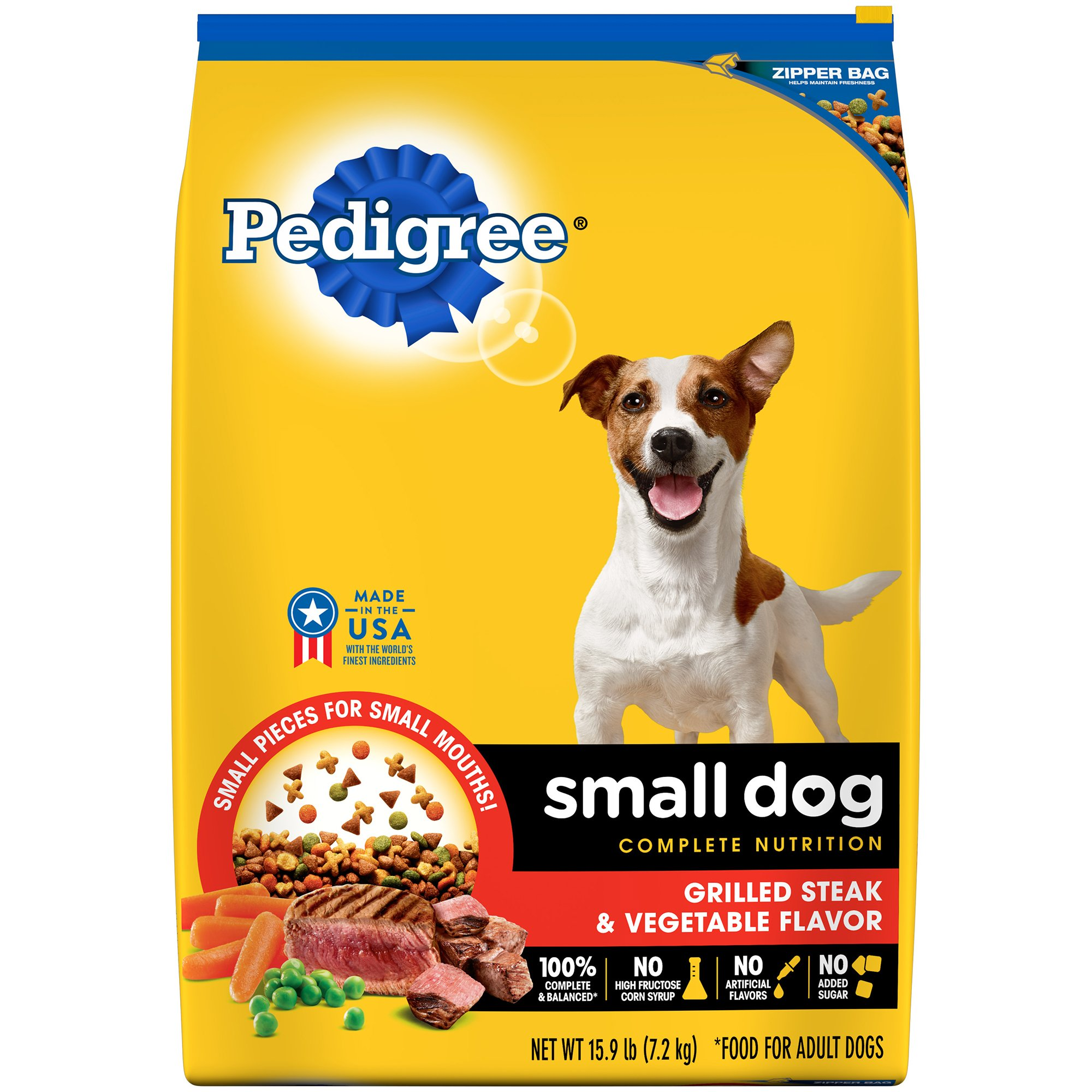 Pedigree Small Dog Complete Nutrition Adult Dry Dog Food Grilled Steak And Vegetable Flavor, 15.9 Lb. Bag by Pedigree