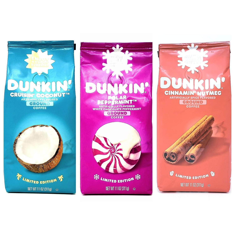 Dunkin Donuts Limited Edition Seasonal Ground Coffee Variety Pack - Polar Peppermint, Cinnamon Nutmeg, and Cruisin Coconut - 11 oz Per Bag - 33 oz Total - Bulk Dunkin Ground Coffee