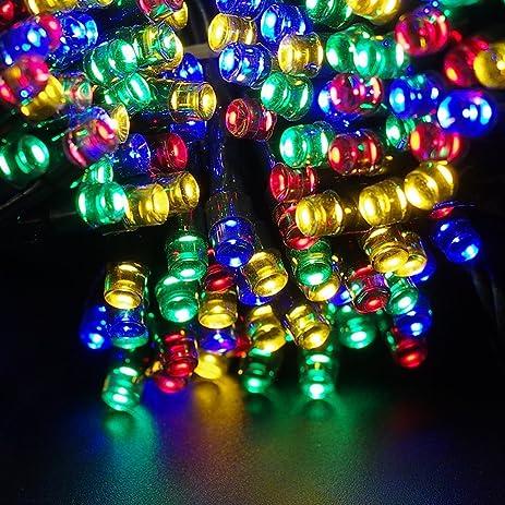 Amazon escolite solar christmas lights party string lights for escolite solar christmas lights party string lights for solar powered outdoor indoor string lights patio gardens workwithnaturefo
