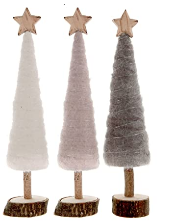 Wann Weihnachtsdeko.Amazon De Cama24com Weihnachtsdeko Tannenbaum Aus Holz Und Wolle 3