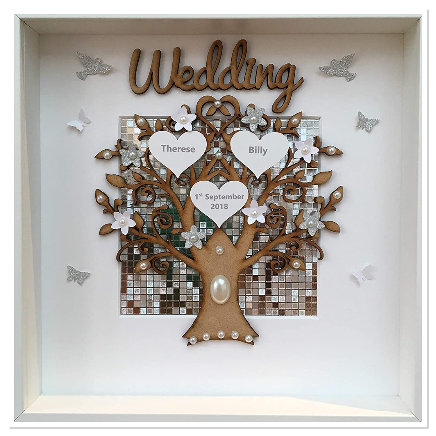 PERSONALISED 3D DEEP LED LIGHT BOX FRAME LARGE FAMILY TREE FLORAL CHRISTMAS GIFT